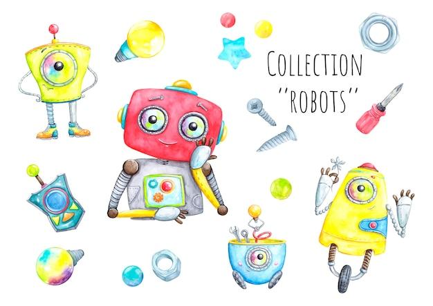 Robots set aquarel illustraties