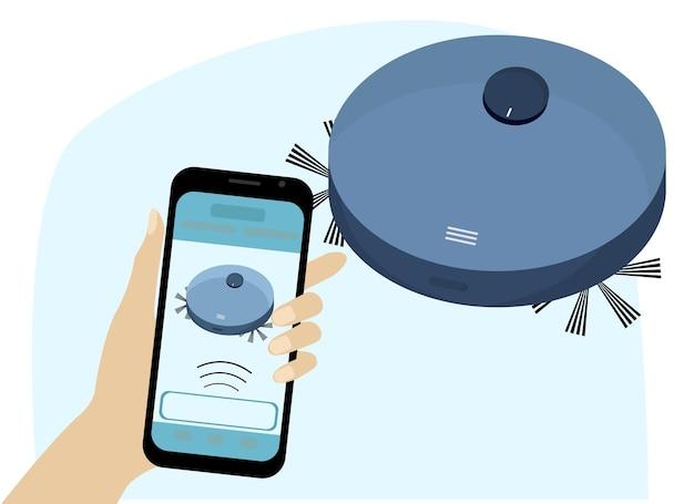 Robotstofzuiger. slimme huisbediening vanaf een mobiele telefoon. vector tekening