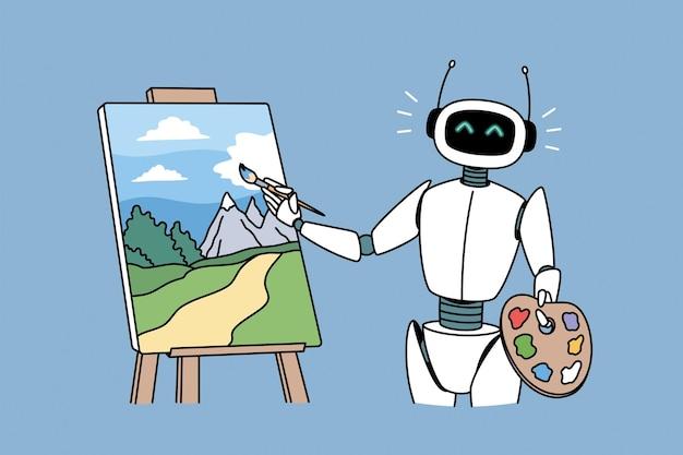 Robottechnologieën in het concept van hobby's. positieve robot permanent en tekening kunstwerk foto landschap met borstel vectorillustratie