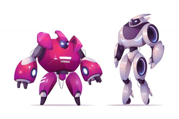 Robottransformatoren, robotica en kunstmatige intelligentie-technologieën cyborgs, militaire exoskeletpersonages bestrijden, vechten tegen buitenaardse cybernetische krijgers