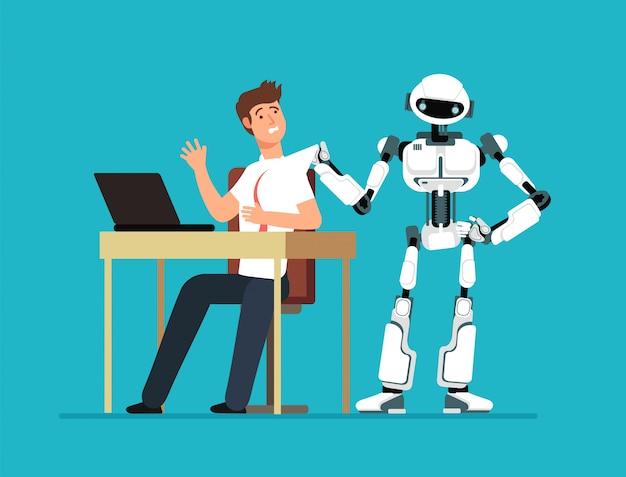 Robotwerknemer schopt menselijke werknemer van de werkplek. kunstmatige intelligentie, manvervanging, toekomstloos werkloos vectorconcept
