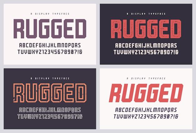 Robuuste san serif vector lettertype, alfabet, lettertype, hoofdletters en cijfers. wereldwijde stalen.