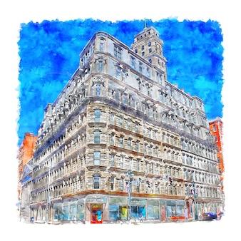 Rochester new york aquarel schets hand getekende illustratie