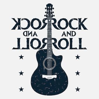 Rock and roll muziek grunge print met gitaar. rockmuziekontwerp voor t-shirt, kleding, poster. vector illustratie.