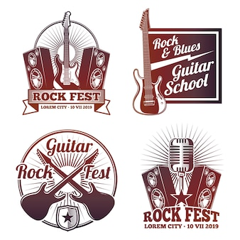 Rock and roll muziek vector labels. vintage heavy metal emblemen geïsoleerd