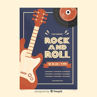 Rock and roll retro poster sjabloon
