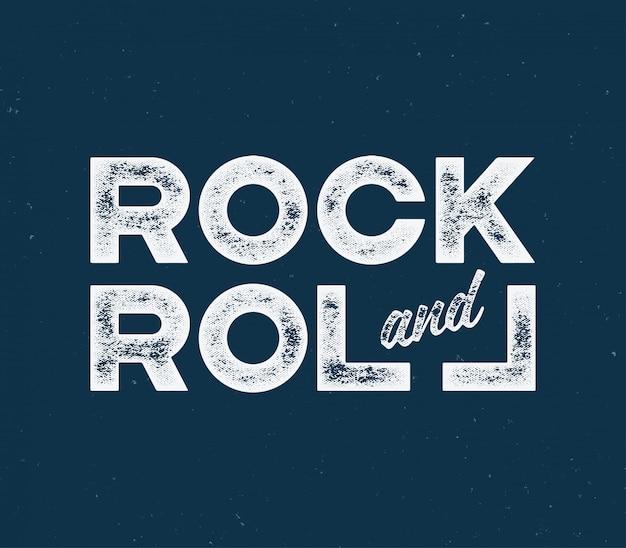Rock and roll t-shirt en kledingontwerp met met getextureerde lett