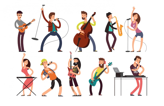 Rock en pop muzikanten vector stripfiguren. jonge gitaristen, drummers en zangers artiesten geïsoleerd