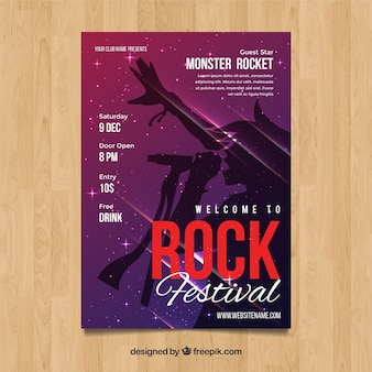Rock festival poster in abstracte stijl