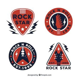 Rock logo collectie met plat ontwerp