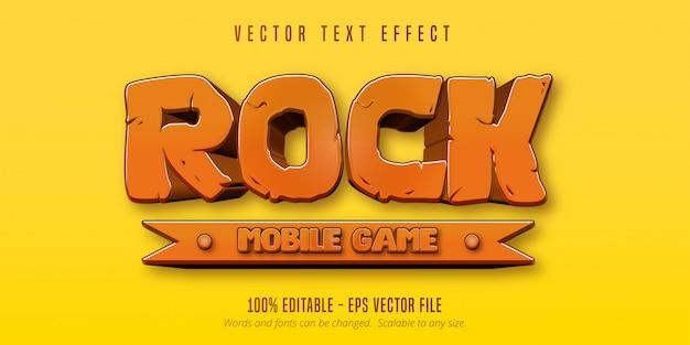Rock mobiele game-tekst, bewerkbaar teksteffect in cartoon-game-stijl