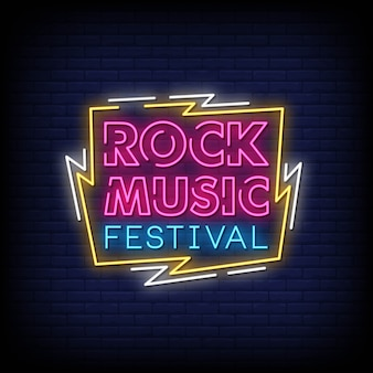 Rock music festival neon signs style text