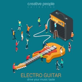 Rock muziek apparatuur concept elektrische basgitaar versterker combo audio luidspreker en kleine mensen plat isometrisch.
