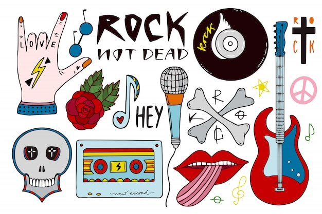 Rock muziek clip art bundel. hand getrokken muzikale stickers