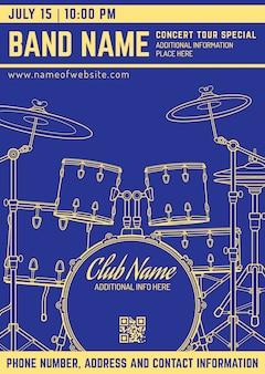 Rock muziek concert drumstel verticale muziek flyer sjabloon
