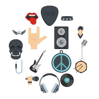 Rock muziek pictogrammen instellen in vlakke stijl