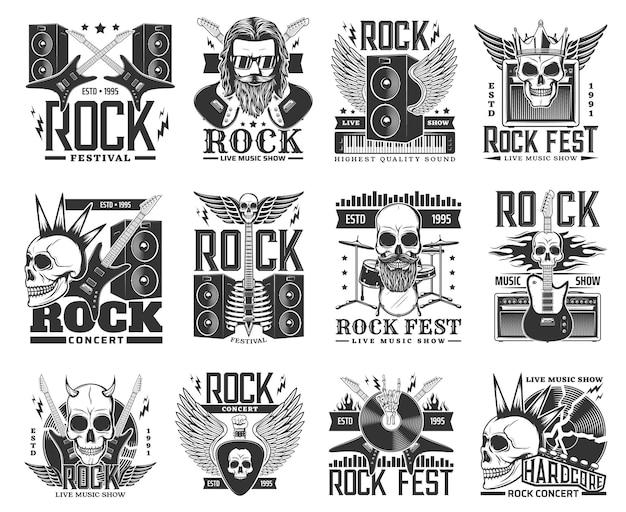 Rock muziek vector iconen en symbolen met rock and roll en heavy metal gitaren, schedels en drums. hardrockbandmuzikant, rockerhandteken, luidspreker en bliksem, vinylplaat of bebaard skelet