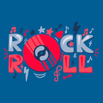 Rock n roll handgetekende kleur belettering. disco, retro muziek concert poster, sjabloon voor spandoek vector