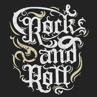 Rock n roll muziek grunge print, vintage label, rockmuziek