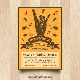 Rock n roll muziek posterontwerp