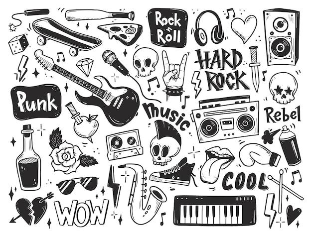 Rock n roll punk muziek doodle set