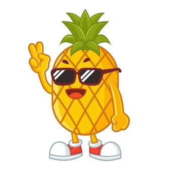Rock pineapple mascot design
