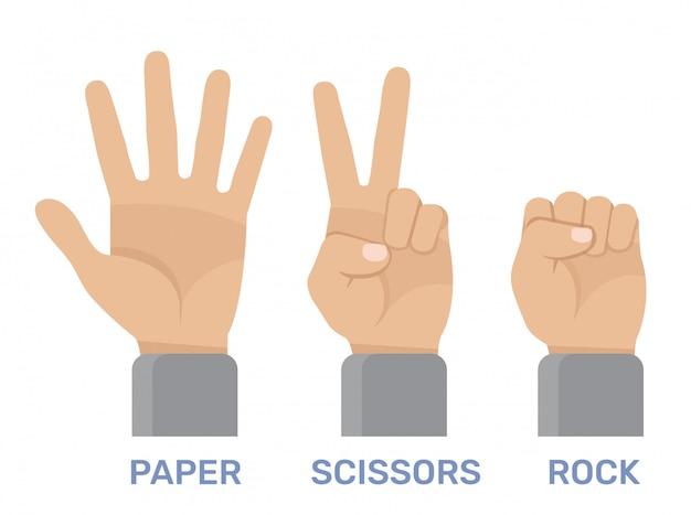 Rock, schaar, papieren handspel