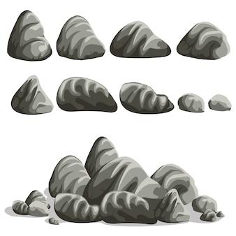 Rock steen cartoon in vlakke stijl. aantal verschillende keien