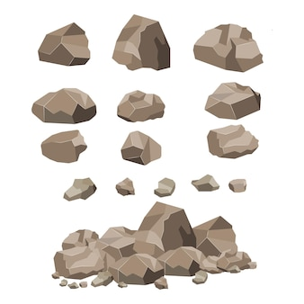 Rock steen grote set cartoon