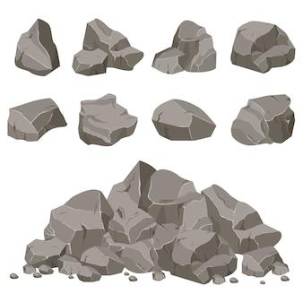 Rock steen instellen cartoon. stenen van verschillende vormen. rotsen en puin van de berg. een enorm blok stenen. stenen scherf