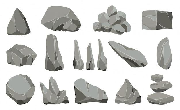 Rock stenen. grafietsteen, steenkool en rotsenstapel voor muur of bergkiezelsteen.