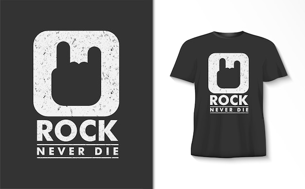 Rock sterft nooit typografiet-shirt