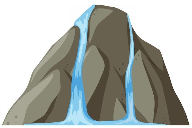 Rock waterval witte achtergrond