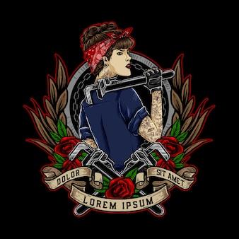 Rockabilly-meisje of pin-upgirl houdt de moersleutel vast en draagt een rood bandana-logo