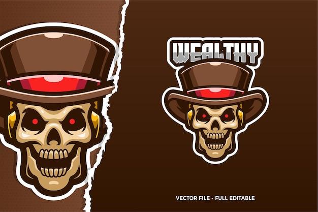 Rockabilly skull e-sport logo sjabloon
