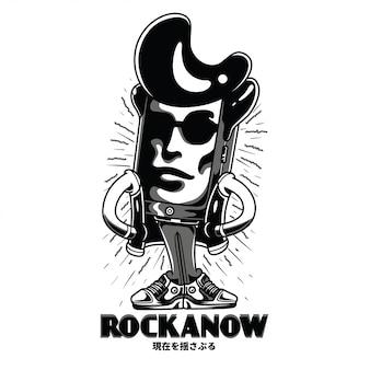 Rockanow zwart en wit illustratie