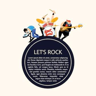 Rockband muziek groep vectorillustratie