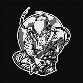 Rocker astronaut vectorillustratie