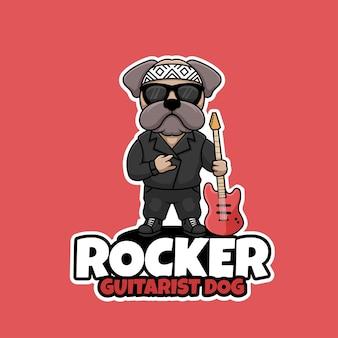 Rocker gitarist hond creatieve cartoon mascotte logo ontwerp