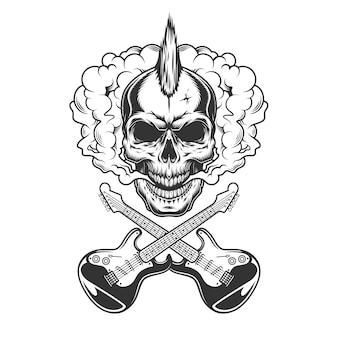 Rocker schedel met mohawk