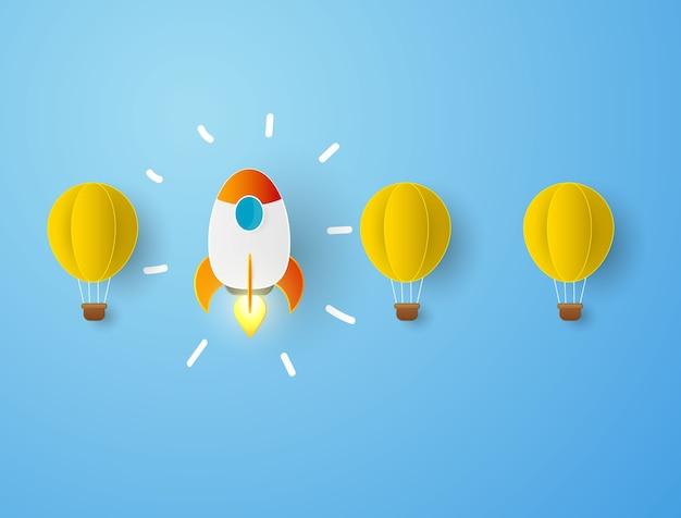 Rocket hete lucht ballonnen competitie concept