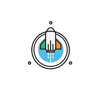 Rocket ireland line art vector logo Premium Vector