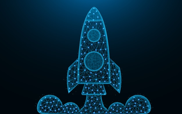Rocket lancering laag poly-ontwerp