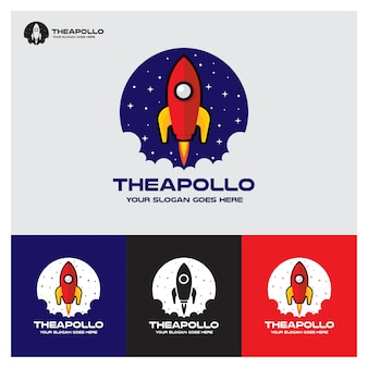 Rocket logo apollo space startup company
