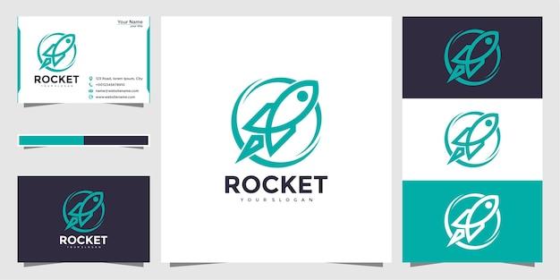 Rocket logo-ontwerp en visitekaartje