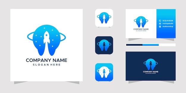Rocket logo-ontwerp en visitekaartje.