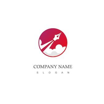 Rocket pen logo schrijven en tekenen lancering symbool