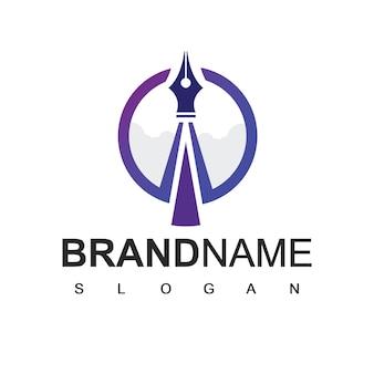 Rocket pen-logo, schrijver, advocatenkantoor en kunstbedrijfssymbool