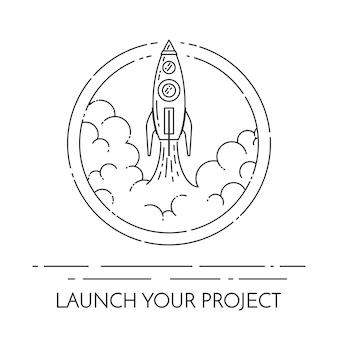 Rocket vertrekt. geïsoleerd op witte achtergrond
