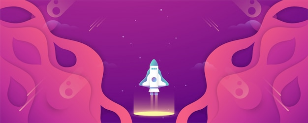 Rocket vliegt in de ruimte van het universum.